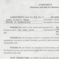 Contract for James Mason's sale of the Juke Joint to Rhonda Pendergrass