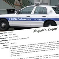 YCSD call/dispatch reports re: dark vehicles
