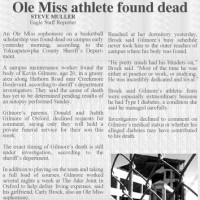 The Oxford Eagle covers the death of student athlete Kevin Gilmore