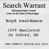 Search of Taylor & Yvonne Boyd residence