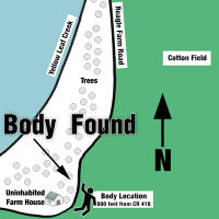 Location where body was found beside Reagle Farm Road