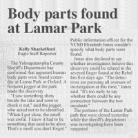 A jogger found what appears to be human body parts at a local park