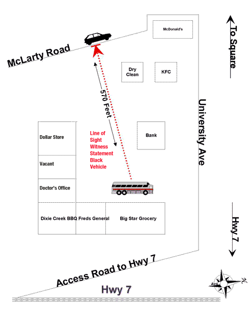 sketch showing the locations of the Magnolia Transit bus and the car Kristi Dawes said she saw