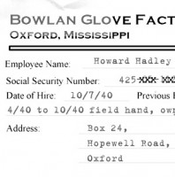 1958 investigators obtained a copy of Howard Hadley's personnel file from the Bowlan Glove Factory