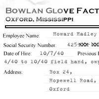 Excerpt of Howard Hadley's Bowlan Glove personnel file