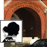 Entrance to the Yoknapatawpha County Coroner's Office with the label 'Female Victim'