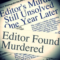 Investigators reviewed the collection of news articles found in the desk in Devlin's study