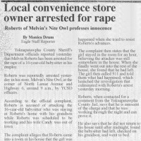 clipping of newspaper article on Melvin Roberts's arrest
