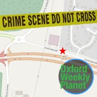 Map of crime scene location with crime scene tape and the Oxford Weekly Planet logo in the foreground