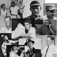Collage of old photos of men from the 1950s