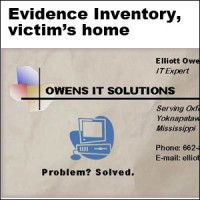 Inventory of evidence collected at the victim's home