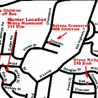 Map showing locations relevant to the Missy Hammond investigation