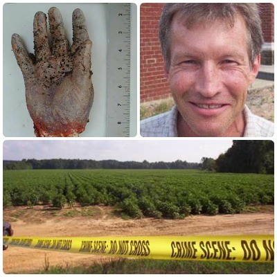 collage with the severed hand in the upper left, Andrew Fine in the upper right, and the cotton field where his body was found across the bottom