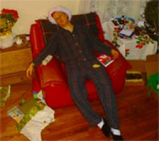 Dead man with Christmas tree