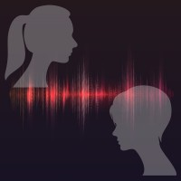 Silhouettes of two women with an audio wave between them