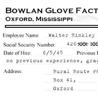 Excerpt of Walter Hinkley's Bowlan Glove personnel file