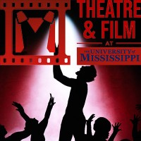 Actors in silhouette with the University of Mississippi Theatre & Film Department logo in the foreground