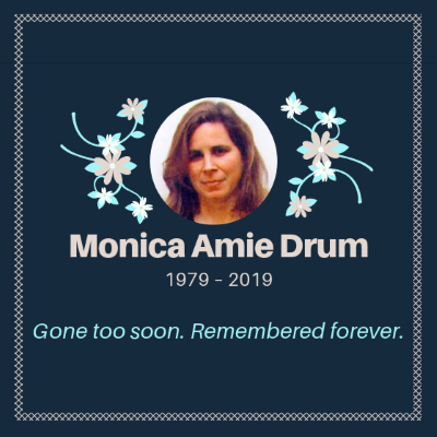 Decorative funeral card for Monica Drum with her photo, birth and death dates and the words 'Gone too soon. Remembered forever.'