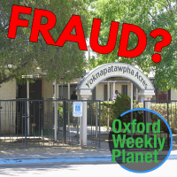 "Photo of Yoknapatawpha Acres entrance with ""Fraud?"" headline and the Oxford Weekly Planet logo in the foreground"