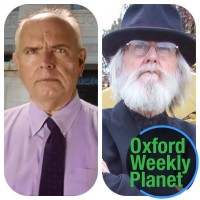 Bruno Coleman and Philip Fontaine with the Oxford Weekly Planet logo in the foreground