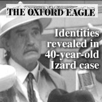 Old photo of a mustachioed man in a fedora with the headline 'Identities revealed in 40-year-old Izard case'