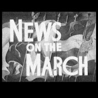 "Still from an old newsreel with the title ""News on the March"""