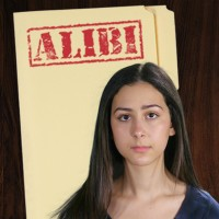 Teen girl with long dark hair in front of a manila folder stamped 'Alibi'