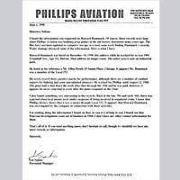 Letter on Phillips Aviation letterhead