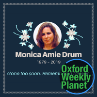 Funeral card for Monica Drum with the Oxford Weekly Planet logo overlaid in the bottom right corner