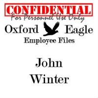 "Oxford Eagle logo with ""John Winter personnel file - Confidential"" label"