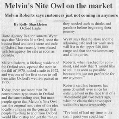 clipping of newspaper article on Melvin's store being put up for sale