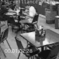 Black and white security video still