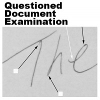 Photo of questioned document examination marks on handwritten evidence