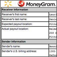 Money transfer record