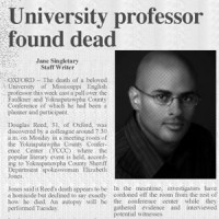The Oxford Eagle reports on the murder of associate professor Douglas Reed,