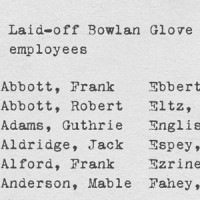 1958 list of laid-off Bowlan Glove employees and their status in 1998