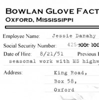 1958 investigators obtained a copy of Jessie Danahy's personnel file from the Bowlan Glove Factory