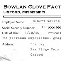 1958 investigators obtained a copy of Elbert Warren's personnel file from the Bowlan Glove Factory