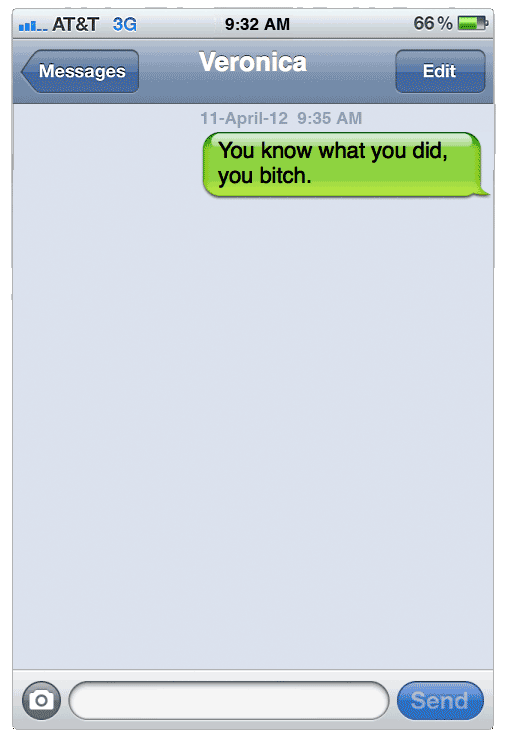 Samples of harassing text messages