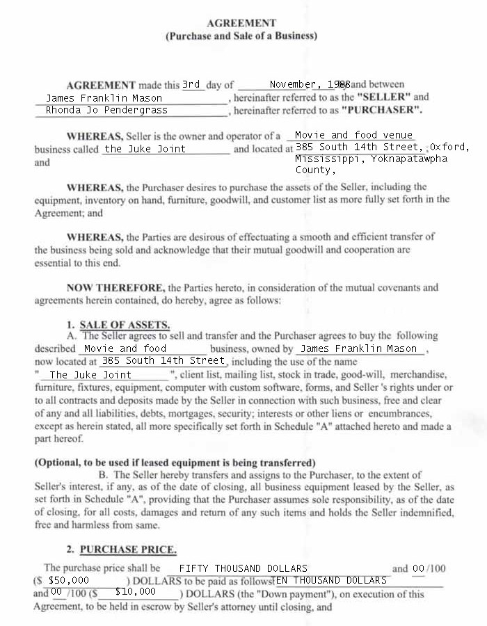 Contract For Juke Joint Sale
