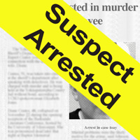 The local newspaper reports on the arrest of Diane Coates' alleged killer