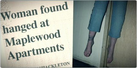 Newspaper headline alongside a photo of a woman's feet and legs dangling above the floor