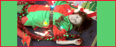 Woman in an elf costume lying dead by the tree