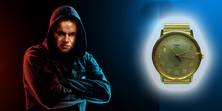 Man in a hoodie with police lights in the background and a wristwatch in the foreground