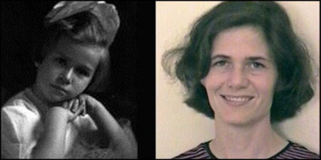 Old photo of a little girl with short dark hair alongside a photo of an adult woman with  short, dark, wavy hair