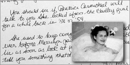 Old photo of a smiling woman in a bathtub with a handwritten letter in the background