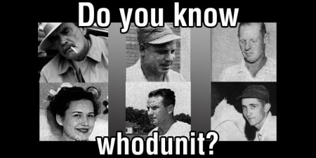 Collage of old black-and-white photos of people involved in the original investigation into the Izard case