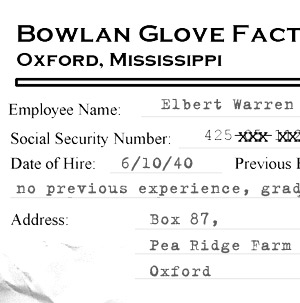 Elbert Warren Bowlan Glove personnel file