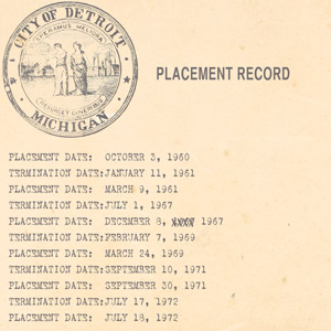 Social Services placement record for Doris Hammack