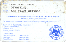 Kimberly Pace health insurance card